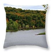 Early Autumn Shoreline Throw Pillow
