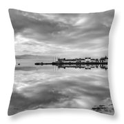 Early Morning At Inverary Black And White Version Throw Pillow