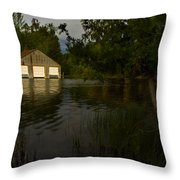 Early Morning Clam Lake Channel Throw Pillow