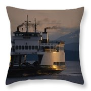 Early Morning Ferry Leaves Seattle Throw Pillow