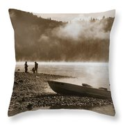 Early Morning Fishing On Scotts Flat Lake In Sepia Throw Pillow