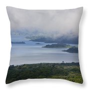 Early Morning Fog Rises Over Lake Throw Pillow