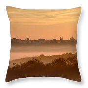 Early Morning Mist, Bradworthy, North Throw Pillow