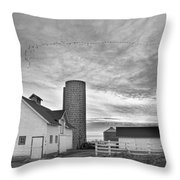 Early Morning On The Farm Bw Throw Pillow