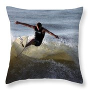 Early Morning Surfing Throw Pillow