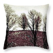 Early Morning Trees Throw Pillow by Miss Dawn
