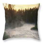Early Morning View Of Crescent Creek Throw Pillow