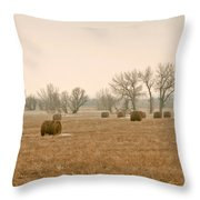Earlying Morning Hay Bails Throw Pillow