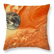Earth And Jupiter Throw Pillow