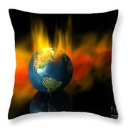 Earth And Oil Fire Throw Pillow