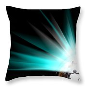 Earth Globe With Blue Bursts Throw Pillow