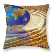Earth In The Printed Circuit Throw Pillow