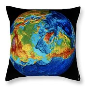 Earth: Topography Throw Pillow