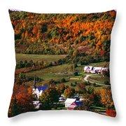 East Orange Village In Fall, Vermont Throw Pillow