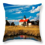East Point Lighthouse Reflection Throw Pillow