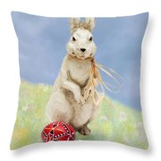 Easter Bunny With A Painted Egg Throw Pillow