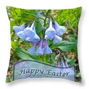 Easter Card - Virginia Bluebells Throw Pillow
