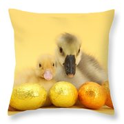 Easter Duckling And Gosling Throw Pillow