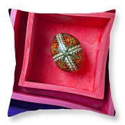 Easter Egg In Pink Box Throw Pillow