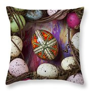Easter Egg With Wreath Throw Pillow