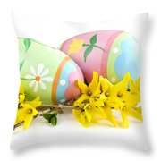 Easter Eggs Throw Pillow by Elena Elisseeva