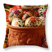 Easter Eggs In Flower Pot Throw Pillow