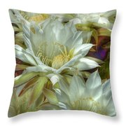 Easter Lily Cactus Bouquet Hdr Throw Pillow