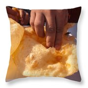 Eating By Hand The Indian Delicacy Of Chole Bhature Throw Pillow