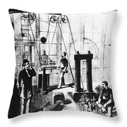 Edisons Electric Generator Throw Pillow by Omikron