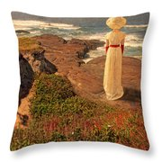 Edwardian Lady By The Sea Throw Pillow