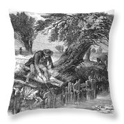 Eel Fishing, 1850 Throw Pillow