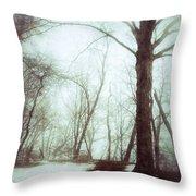 Eerie Winter Woods Throw Pillow