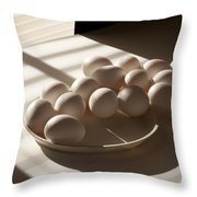 Eggs Lit Through Venetian Blinds Throw Pillow