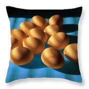 Eggs On Blue Lit Through Venetian Blinds Throw Pillow