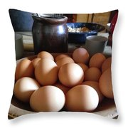 Eggs On The Table Throw Pillow
