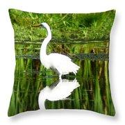 Egret 5 Throw Pillow