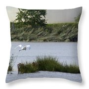 Egret Over Water Throw Pillow
