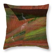 Egret Puzzle Throw Pillow