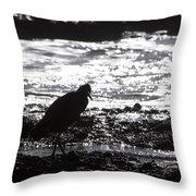 Egret Silhouette  Throw Pillow