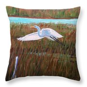 Egret Watching Throw Pillow