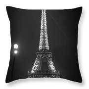 Eiffel By Night Throw Pillow