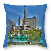 Eiffel Tower And Reflecting Pond Throw Pillow
