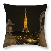 Eiffel Tower And The Seine River From Pont Alexandre At Night Throw Pillow