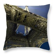Eiffel Tower At Night,directly Below Throw Pillow