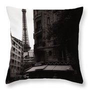 Eiffel Tower Black And White 2 Throw Pillow