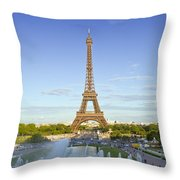 Eiffel Tower With Fontaines Throw Pillow