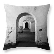 El Morro Fort Barracks Arched Doorways San Juan Puerto Rico Prints Black And White Throw Pillow