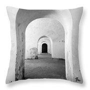 El Morro Fort Barracks Arched Doorways Vertical San Juan Puerto Rico Prints Black And White Throw Pillow