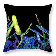 Electric Fractal Garden Throw Pillow
