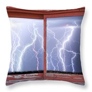 Electric Skies Red Barn Picture Window Frame Photo Art  Throw Pillow